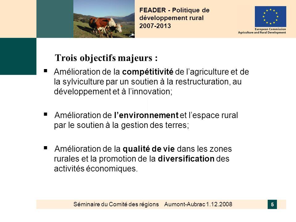 Séminaire du Comité des régions Aumont-Aubrac 1.12.2008 6 Correspondant à trois axes thématiques et un axe méthodologique pour construire la politique: Axe 1: Compétitivité des secteurs agricoles et forestiers Axe 2: Environnement/gestion de lespace rural Axe 3: Diversification de léconomie rurale et qualité de la vie en milieu rural Axe 4: Approche LEADER