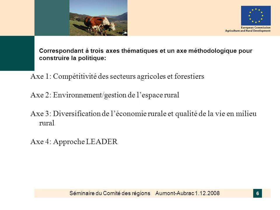 Séminaire du Comité des régions Aumont-Aubrac 1.12.2008 7 Mesures programmées les plus fréquentes à destination des massifs de montagne Paiement pour compenser les handicaps naturels (zones défavorisées) Maintien du pastoralisme sous la mesure agro- environnementale