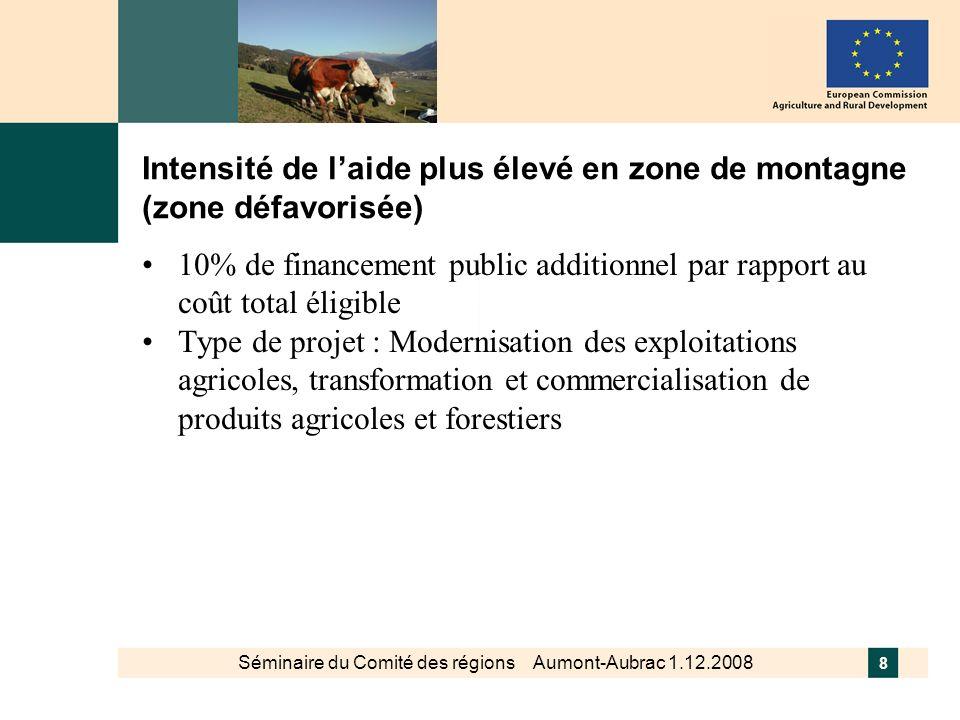 Séminaire du Comité des régions Aumont-Aubrac 1.12.2008 8 Intensité de laide plus élevé en zone de montagne (zone défavorisée) 10% de financement publ