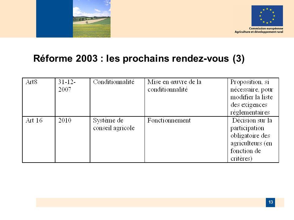 13 Réforme 2003 : les prochains rendez-vous (3)