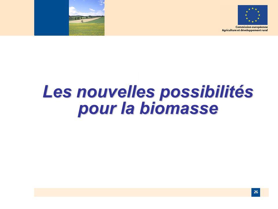 26 Les nouvelles possibilités pour la biomasse