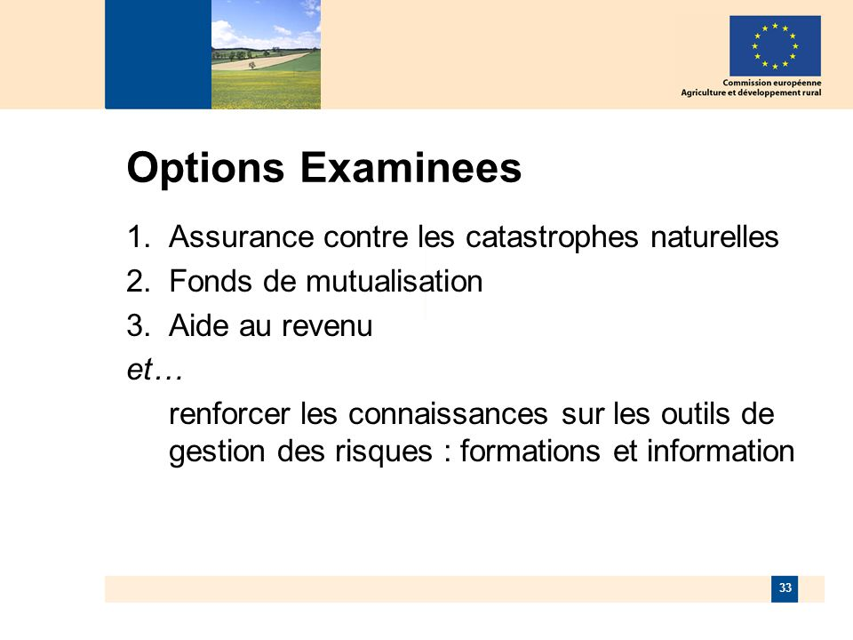 33 Options Examinees Assurance contre les catastrophes naturelles Fonds de mutualisation Aide au revenu et… renforcer les connaissances sur les outils de gestion des risques : formations et information