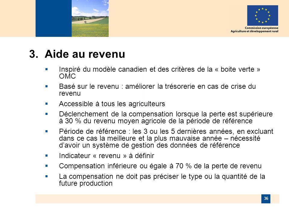 36 3. Aide au revenu Inspiré du modèle canadien et des critères de la « boite verte » OMC Basé sur le revenu : améliorer la trésorerie en cas de crise