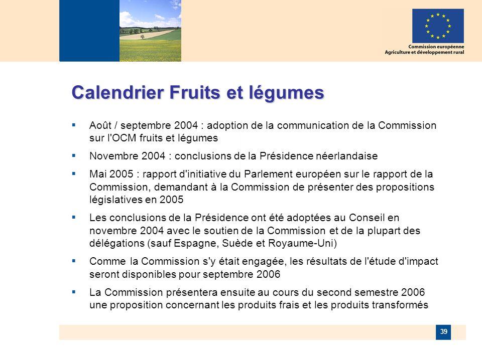 39 Août / septembre 2004 : adoption de la communication de la Commission sur l OCM fruits et légumes Novembre 2004 : conclusions de la Présidence néerlandaise Mai 2005 : rapport d initiative du Parlement européen sur le rapport de la Commission, demandant à la Commission de présenter des propositions législatives en 2005 Les conclusions de la Présidence ont été adoptées au Conseil en novembre 2004 avec le soutien de la Commission et de la plupart des délégations (sauf Espagne, Suède et Royaume-Uni) Comme la Commission s y était engagée, les résultats de l étude d impact seront disponibles pour septembre 2006 La Commission présentera ensuite au cours du second semestre 2006 une proposition concernant les produits frais et les produits transformés Calendrier Fruits et légumes