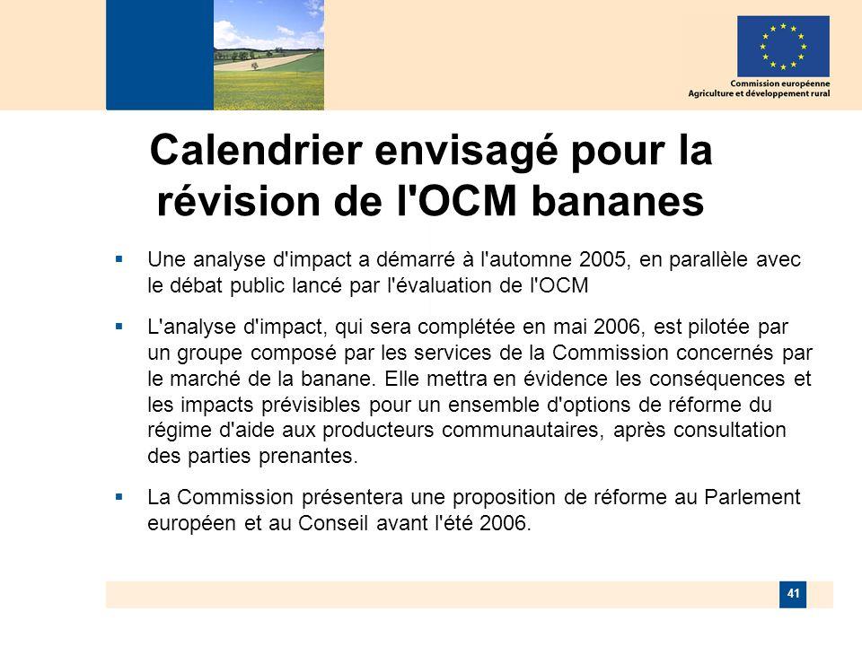 41 Calendrier envisagé pour la révision de l OCM bananes Une analyse d impact a démarré à l automne 2005, en parallèle avec le débat public lancé par l évaluation de l OCM L analyse d impact, qui sera complétée en mai 2006, est pilotée par un groupe composé par les services de la Commission concernés par le marché de la banane.