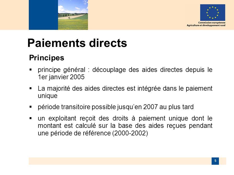 5 Paiements directs Principes principe général : découplage des aides directes depuis le 1er janvier 2005 La majorité des aides directes est intégrée dans le paiement unique période transitoire possible jusquen 2007 au plus tard un exploitant reçoit des droits à paiement unique dont le montant est calculé sur la base des aides reçues pendant une période de référence (2000-2002)