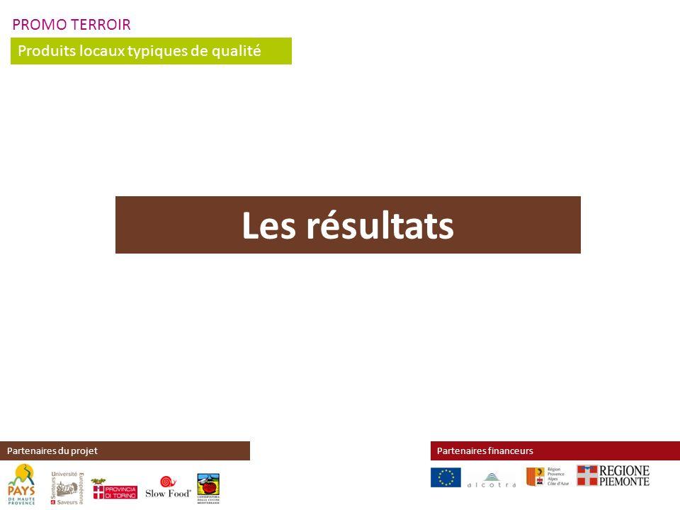 PROMO TERROIR Produits locaux typiques de qualité Partenaires financeursPartenaires du projet Les résultats