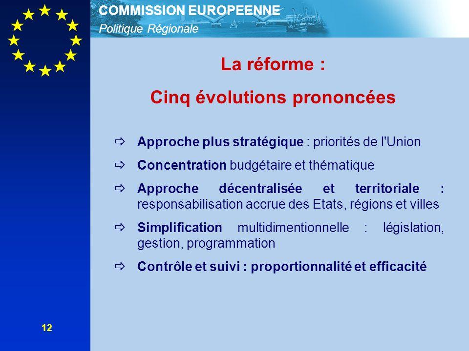 Politique Régionale COMMISSION EUROPEENNE 12 La réforme : Cinq évolutions prononcées Approche plus stratégique : priorités de l'Union Concentration bu