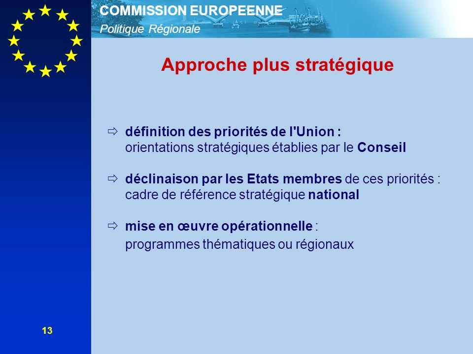 Politique Régionale COMMISSION EUROPEENNE 13 Approche plus stratégique définition des priorités de l Union : orientations stratégiques établies par le Conseil déclinaison par les Etats membres de ces priorités : cadre de référence stratégique national mise en œuvre opérationnelle : programmes thématiques ou régionaux