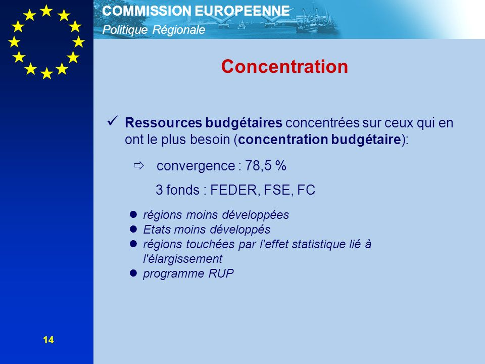 Politique Régionale COMMISSION EUROPEENNE 14 Concentration Ressources budgétaires concentrées sur ceux qui en ont le plus besoin (concentration budgét