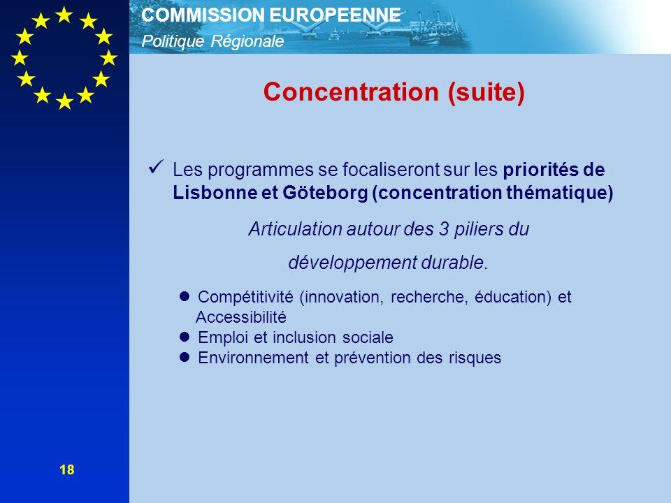 Politique Régionale COMMISSION EUROPEENNE 18 Concentration (suite) Les programmes se focaliseront sur les priorités de Lisbonne et Göteborg (concentration thématique) Articulation autour des 3 piliers du développement durable.