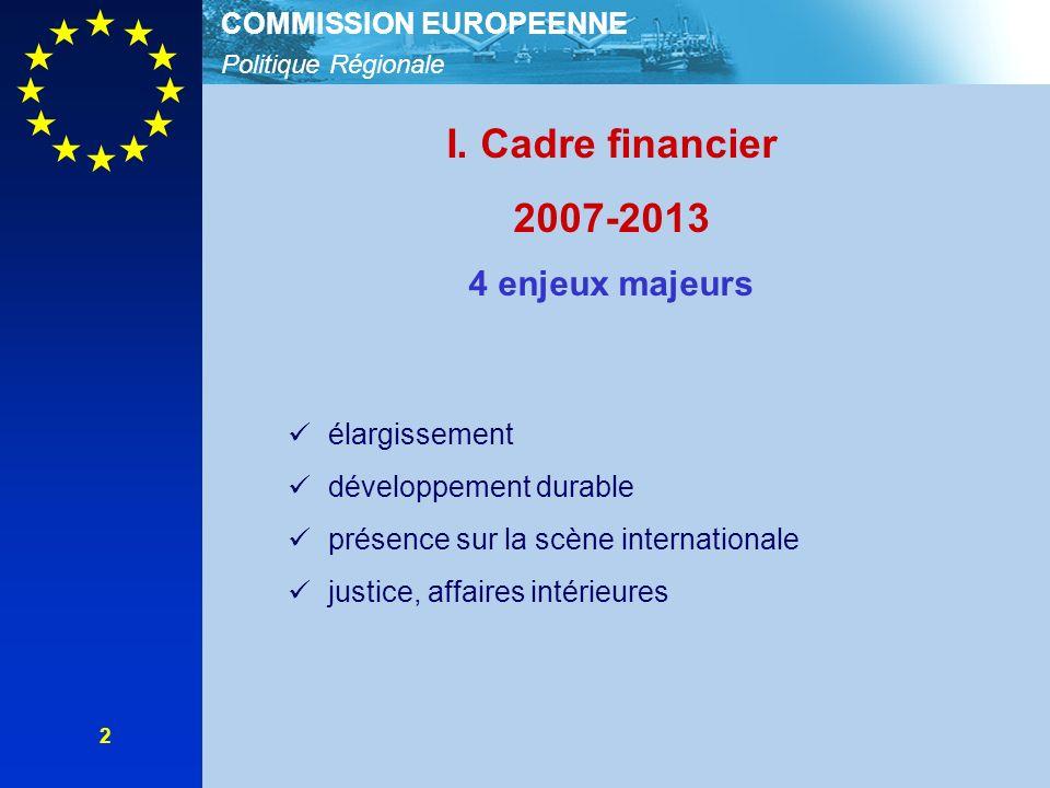Politique Régionale COMMISSION EUROPEENNE 2 I. Cadre financier 2007-2013 4 enjeux majeurs élargissement développement durable présence sur la scène in