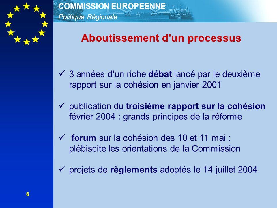 Politique Régionale COMMISSION EUROPEENNE 6 3 années d'un riche débat lancé par le deuxième rapport sur la cohésion en janvier 2001 publication du tro