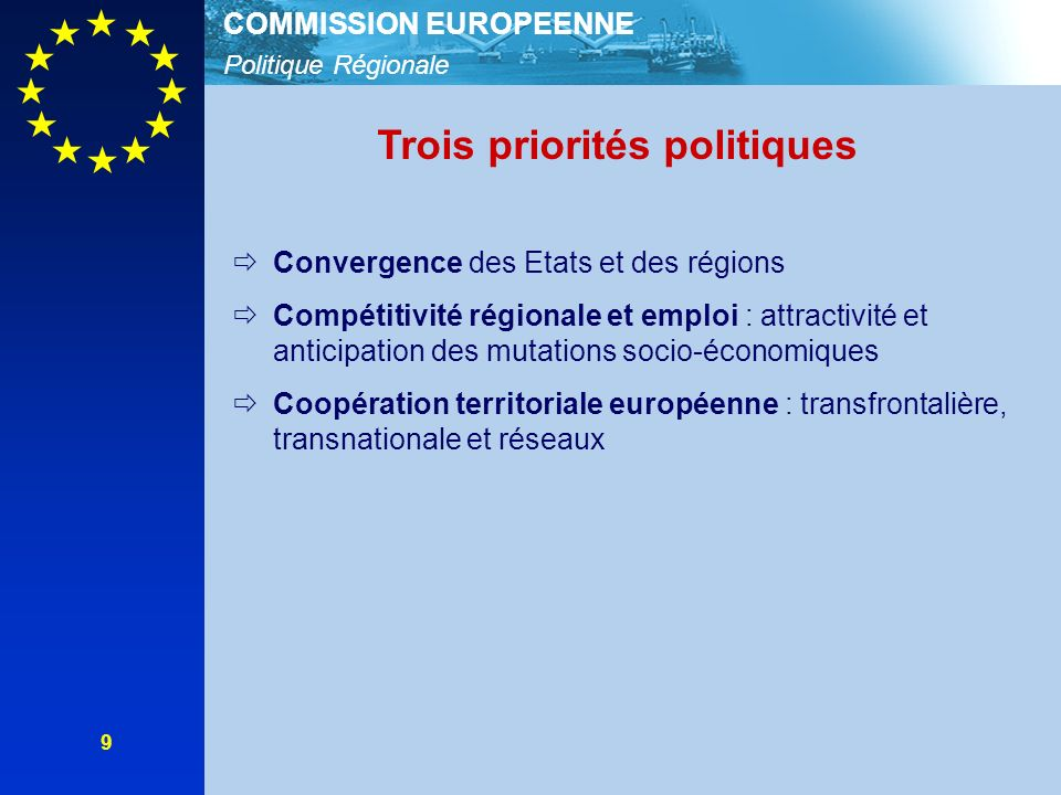 Politique Régionale COMMISSION EUROPEENNE 9 Trois priorités politiques Convergence des Etats et des régions Compétitivité régionale et emploi : attractivité et anticipation des mutations socio-économiques Coopération territoriale européenne : transfrontalière, transnationale et réseaux