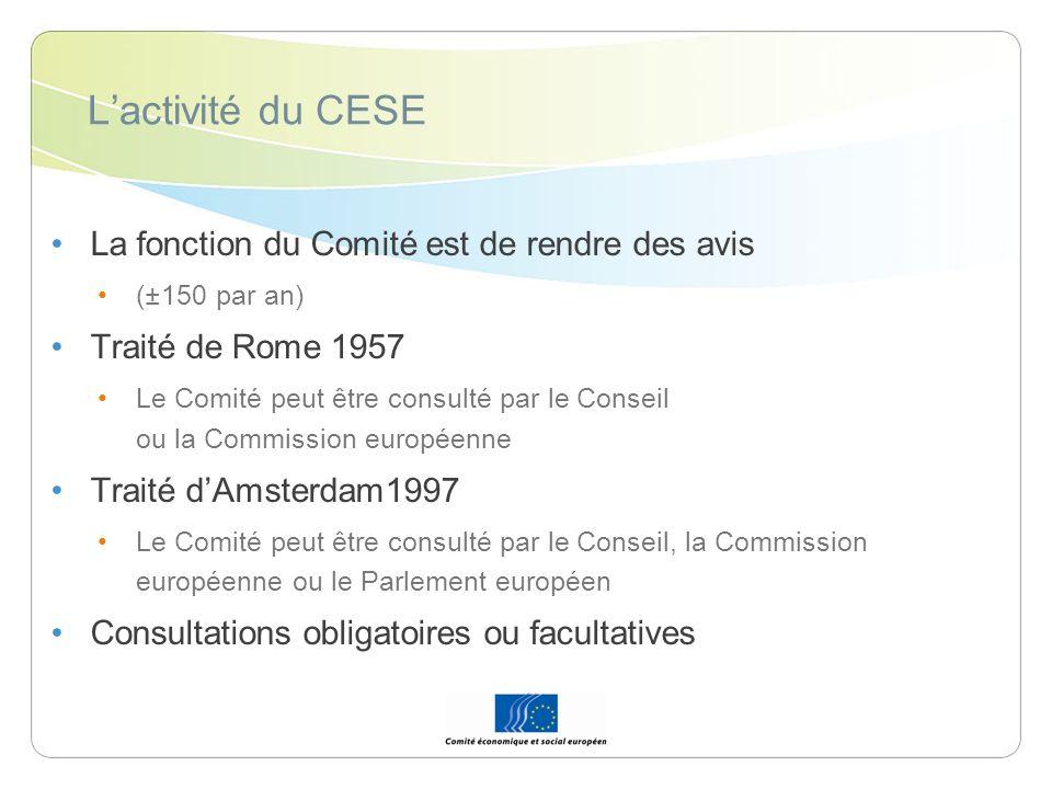 Lactivité du CESE La fonction du Comité est de rendre des avis (±150 par an) Traité de Rome 1957 Le Comité peut être consulté par le Conseil ou la Com