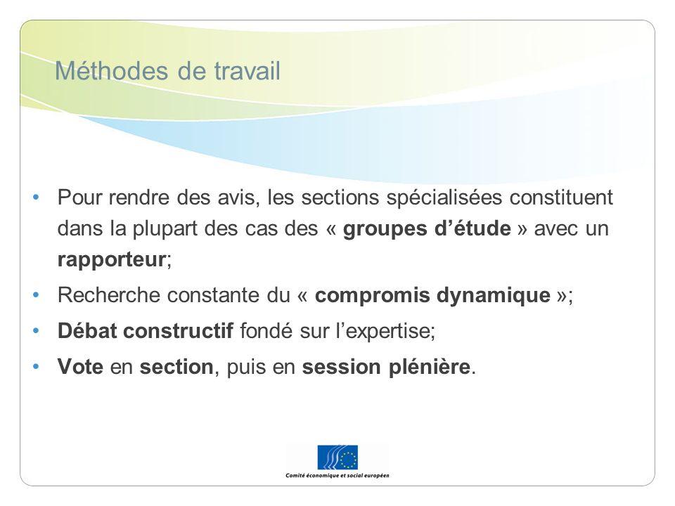 Méthodes de travail Pour rendre des avis, les sections spécialisées constituent dans la plupart des cas des « groupes détude » avec un rapporteur; Rec