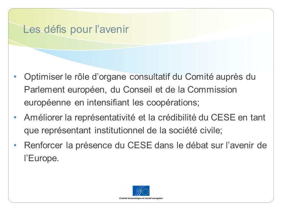 Les défis pour lavenir Optimiser le rôle dorgane consultatif du Comité auprès du Parlement européen, du Conseil et de la Commission européenne en inte