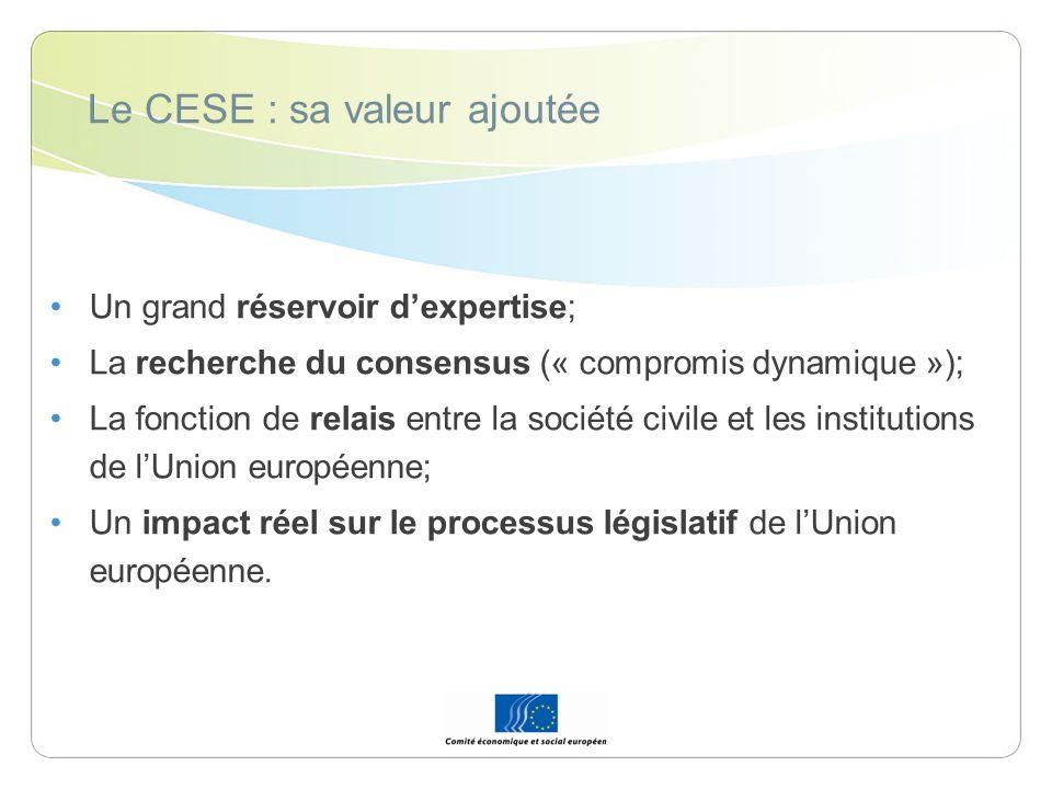 Le CESE : sa valeur ajoutée Un grand réservoir dexpertise; La recherche du consensus (« compromis dynamique »); La fonction de relais entre la société