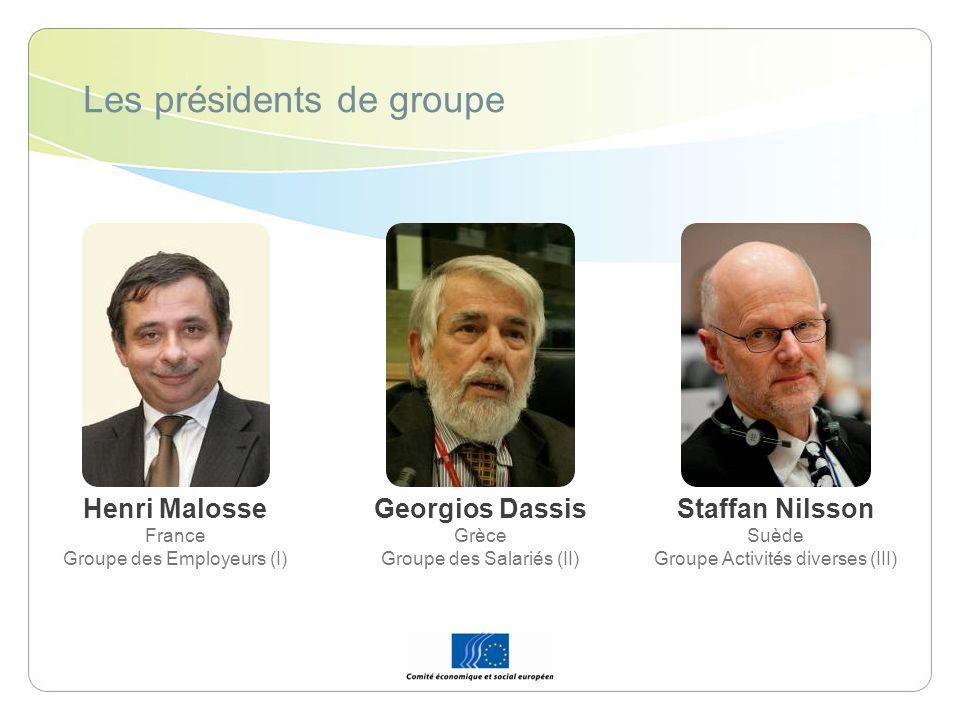 Les présidents de groupe Henri Malosse France Groupe des Employeurs (I) Georgios Dassis Grèce Groupe des Salariés (II) Staffan Nilsson Suède Groupe Ac