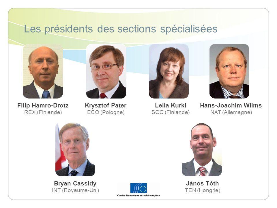 Les présidents des sections spécialisées Bryan Cassidy INT (Royaume-Uni) Leila Kurki SOC (Finlande) Filip Hamro-Drotz REX (Finlande) Krysztof Pater EC