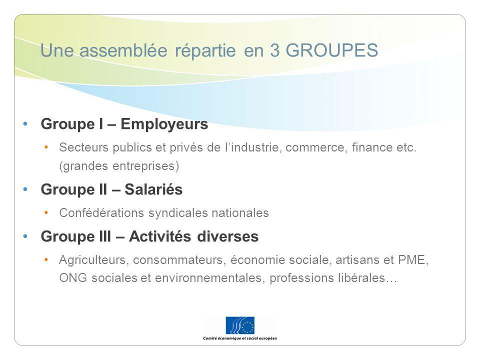 Une assemblée répartie en 3 GROUPES Groupe I – Employeurs Secteurs publics et privés de lindustrie, commerce, finance etc. (grandes entreprises) Group