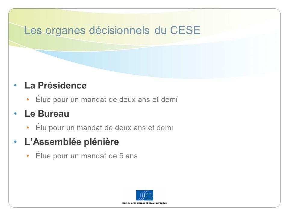 Les organes décisionnels du CESE La Présidence Élue pour un mandat de deux ans et demi Le Bureau Élu pour un mandat de deux ans et demi LAssemblée plé