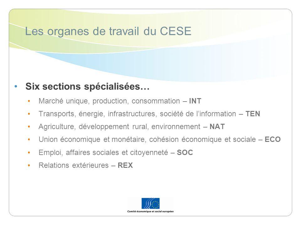 Les organes de travail du CESE …et cinq autres organes La Commission consultative des mutations industrielles – CCMI LObservatoire du marché unique – OMU LObservatoire du développement durable – ODD LObservatoire du marché du travail – OMT LObservatoire de la stratégie de Lisbonne – OSL Les Conseillers et les différents organes de travail sont assistés par un Secrétariat général.