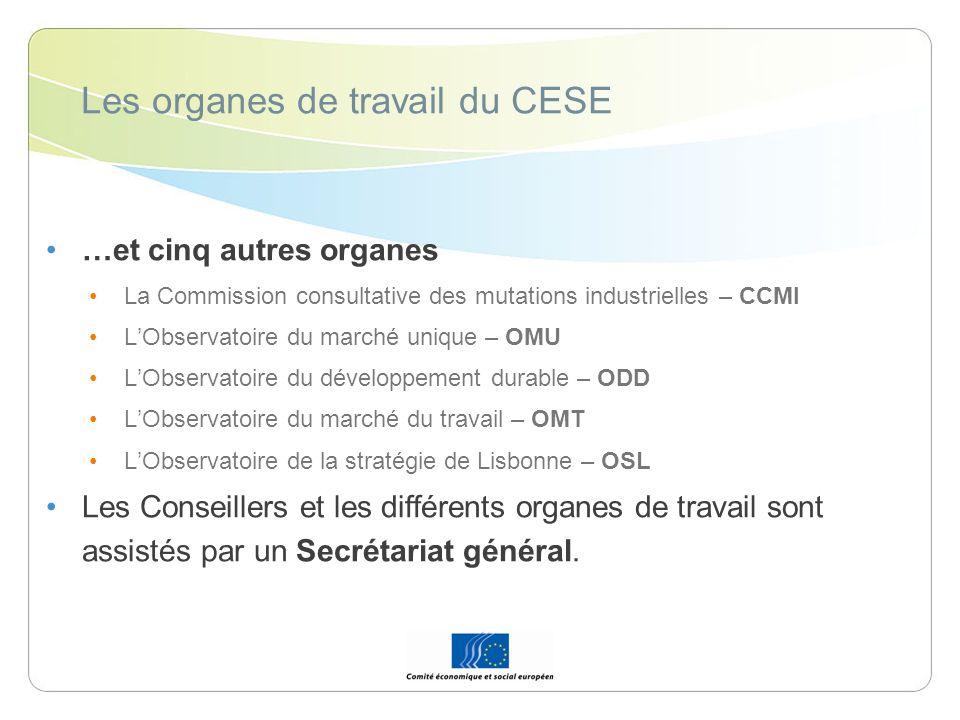 Les organes de travail du CESE …et cinq autres organes La Commission consultative des mutations industrielles – CCMI LObservatoire du marché unique –