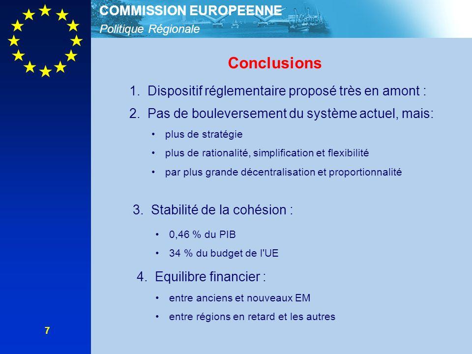 Politique Régionale COMMISSION EUROPEENNE 7 Conclusions 1.Dispositif réglementaire proposé très en amont : 2.Pas de bouleversement du système actuel, mais: plus de stratégie plus de rationalité, simplification et flexibilité par plus grande décentralisation et proportionnalité 3.Stabilité de la cohésion : 4.Equilibre financier : 0,46 % du PIB 34 % du budget de l UE entre anciens et nouveaux EM entre régions en retard et les autres