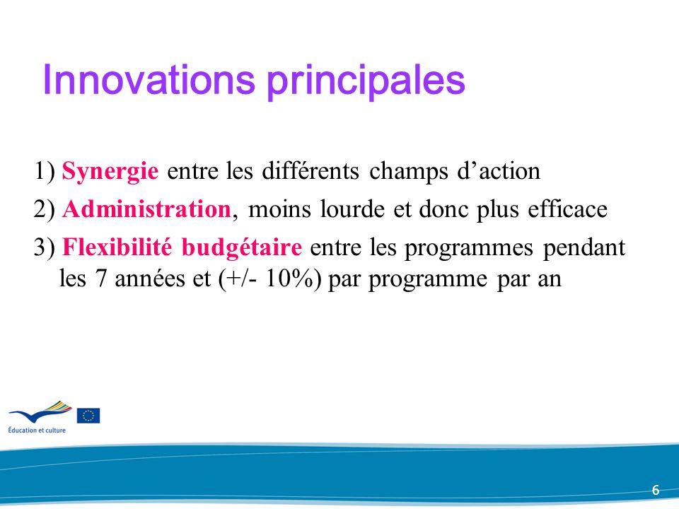 5 Baisse des budgets (parmis les programmes sectoriels) Comenius 13% Erasmus 40% Leonardo da Vinci 25% Grundtvig 4%