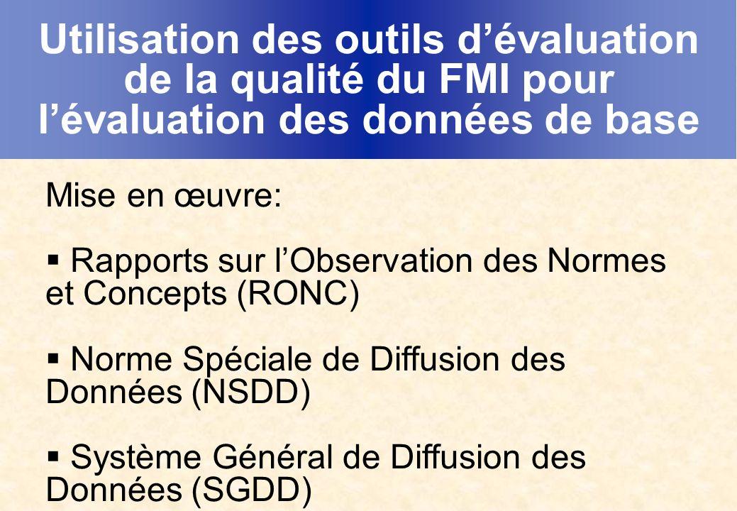 Utilisation des outils dévaluation de la qualité du FMI pour lévaluation des données de base Mise en œuvre: Rapports sur lObservation des Normes et Concepts (RONC) Norme Spéciale de Diffusion des Données (NSDD) Système Général de Diffusion des Données (SGDD)