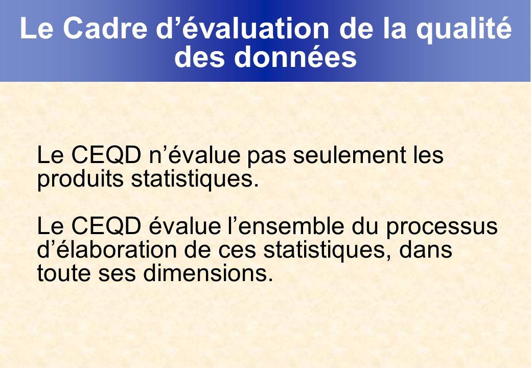 Le Cadre dévaluation de la qualité des données Le CEQD névalue pas seulement les produits statistiques.