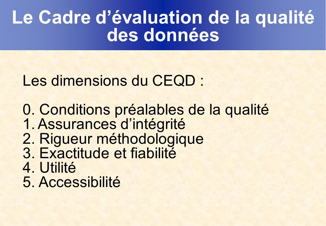 Le Cadre dévaluation de la qualité des données Les dimensions du CEQD : 0. Conditions préalables de la qualité 1.Assurances dintégrité 2. Rigueur méth