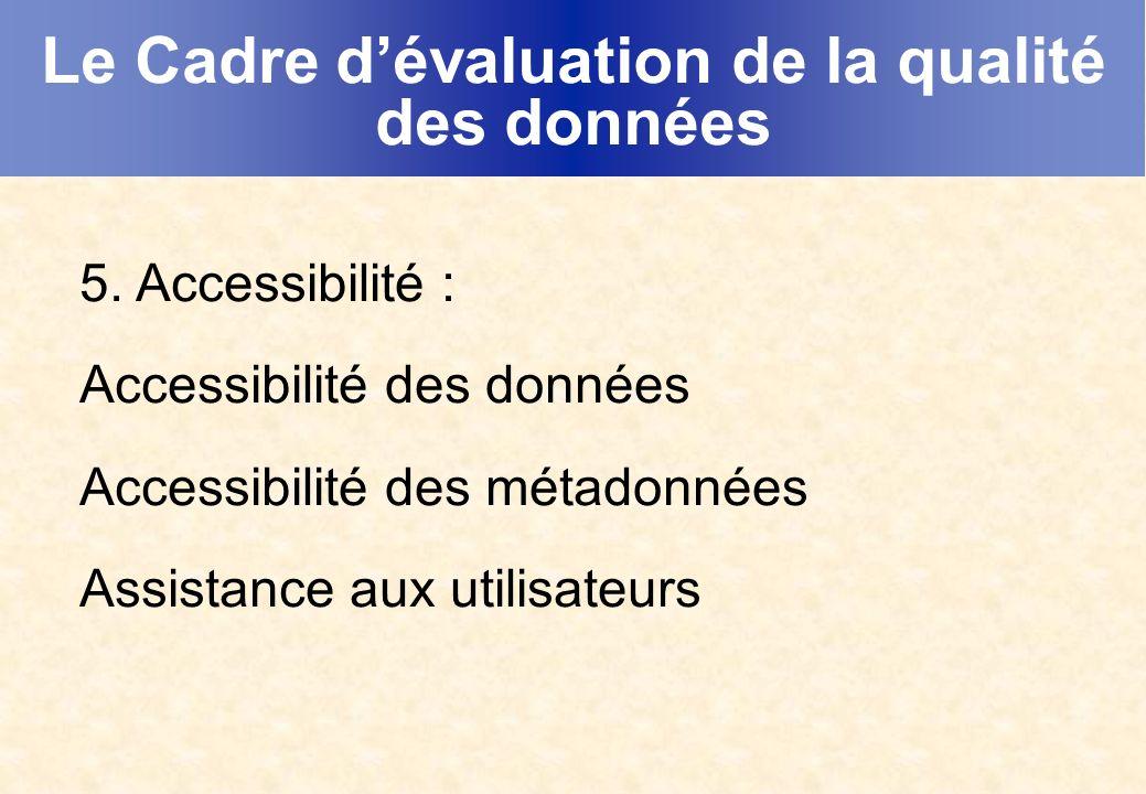 Le Cadre dévaluation de la qualité des données 5.