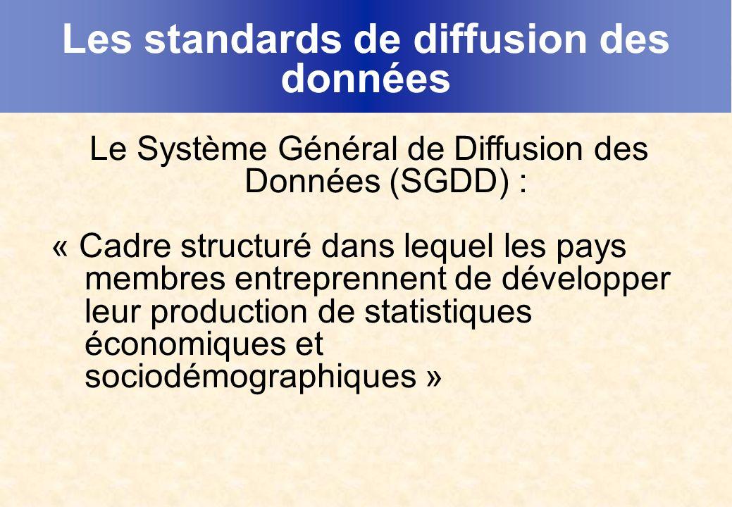 Les standards de diffusion des données Le Système Général de Diffusion des Données (SGDD) : « Cadre structuré dans lequel les pays membres entreprennent de développer leur production de statistiques économiques et sociodémographiques »