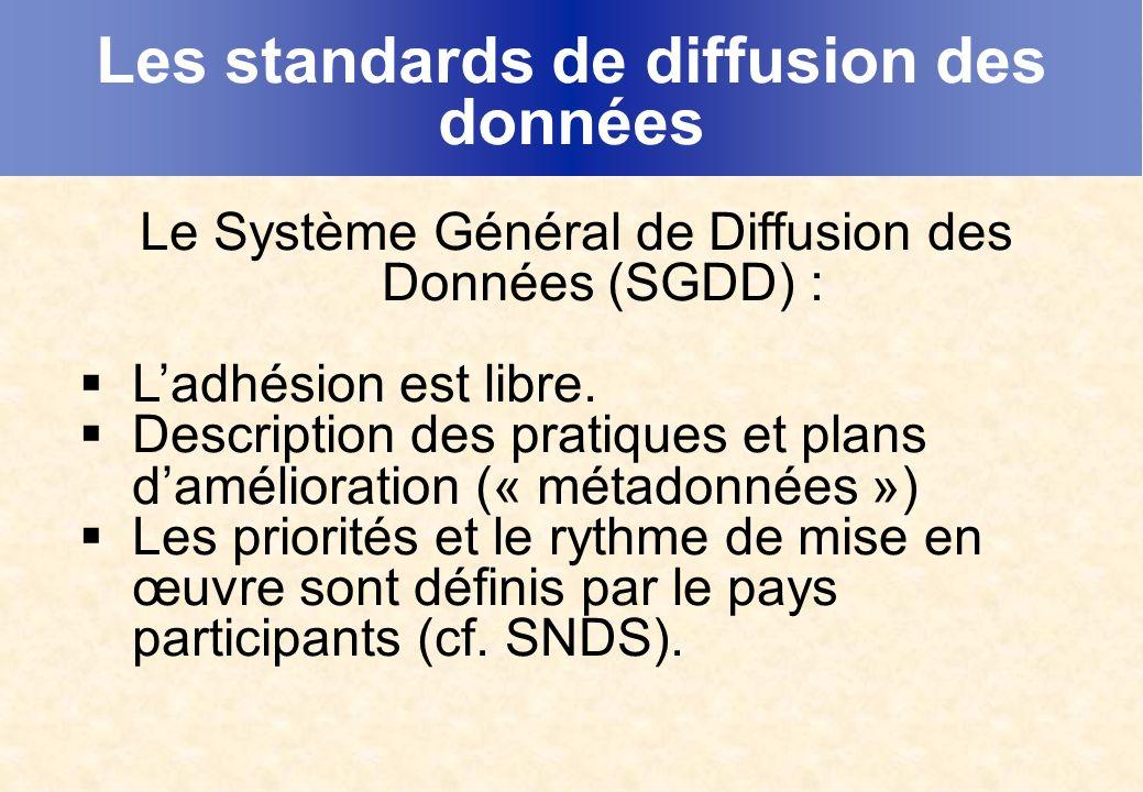 Les standards de diffusion des données Le Système Général de Diffusion des Données (SGDD) : Ladhésion est libre.