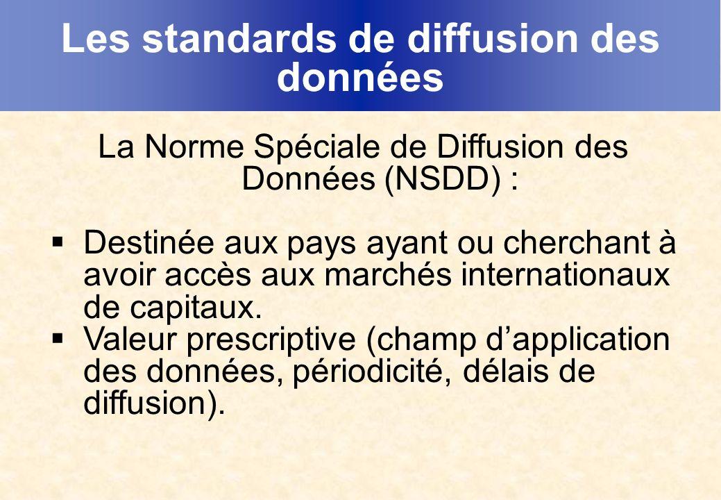 Les standards de diffusion des données La Norme Spéciale de Diffusion des Données (NSDD) : Destinée aux pays ayant ou cherchant à avoir accès aux marchés internationaux de capitaux.