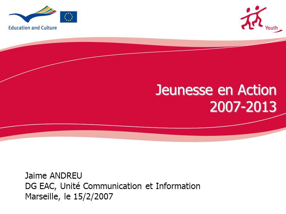 ecdc.europa.eu Jaime ANDREU DG EAC, Unité Communication et Information Marseille, le 15/2/2007 Jeunesse en Action 2007-2013