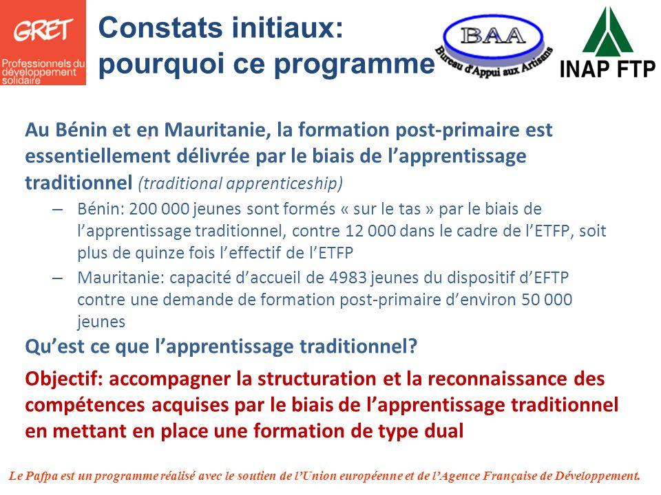 Le Pafpa est un programme réalisé avec le soutien de lUnion européenne et de lAgence Française de Développement. Au Bénin et en Mauritanie, la formati