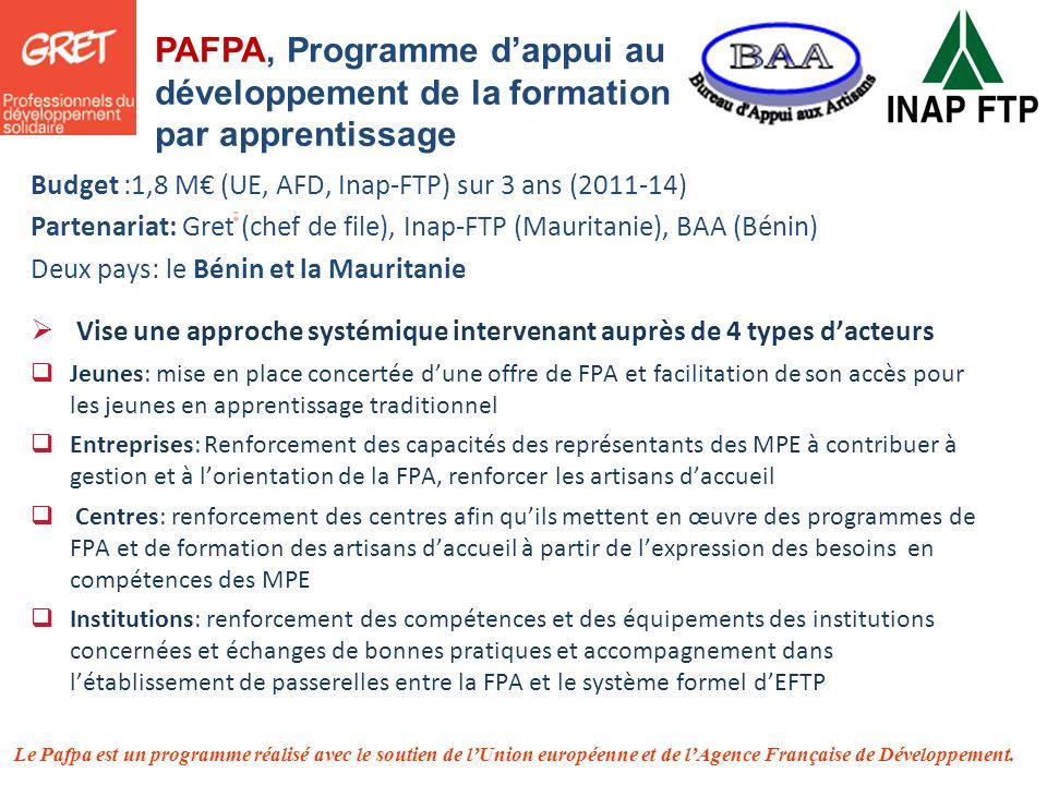 Le Pafpa est un programme réalisé avec le soutien de lUnion européenne et de lAgence Française de Développement. PAFPA, Programme dappui au développem