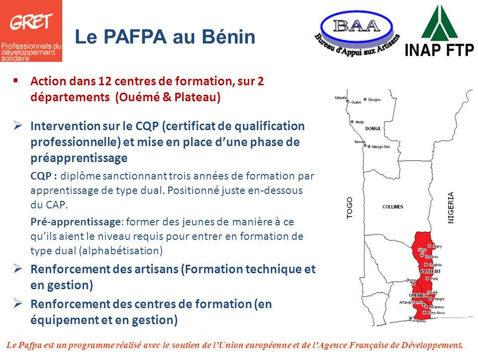 Le Pafpa est un programme réalisé avec le soutien de lUnion européenne et de lAgence Française de Développement. Le PAFPA au Bénin Action dans 12 cent