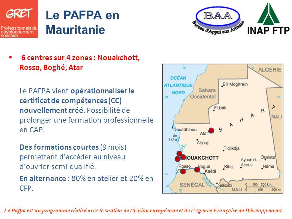 Le Pafpa est un programme réalisé avec le soutien de lUnion européenne et de lAgence Française de Développement. Le PAFPA en Mauritanie 6 centres sur