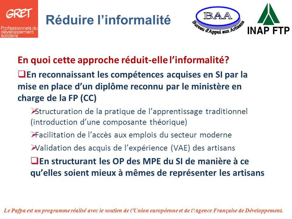 Le Pafpa est un programme réalisé avec le soutien de lUnion européenne et de lAgence Française de Développement. En quoi cette approche réduit-elle li