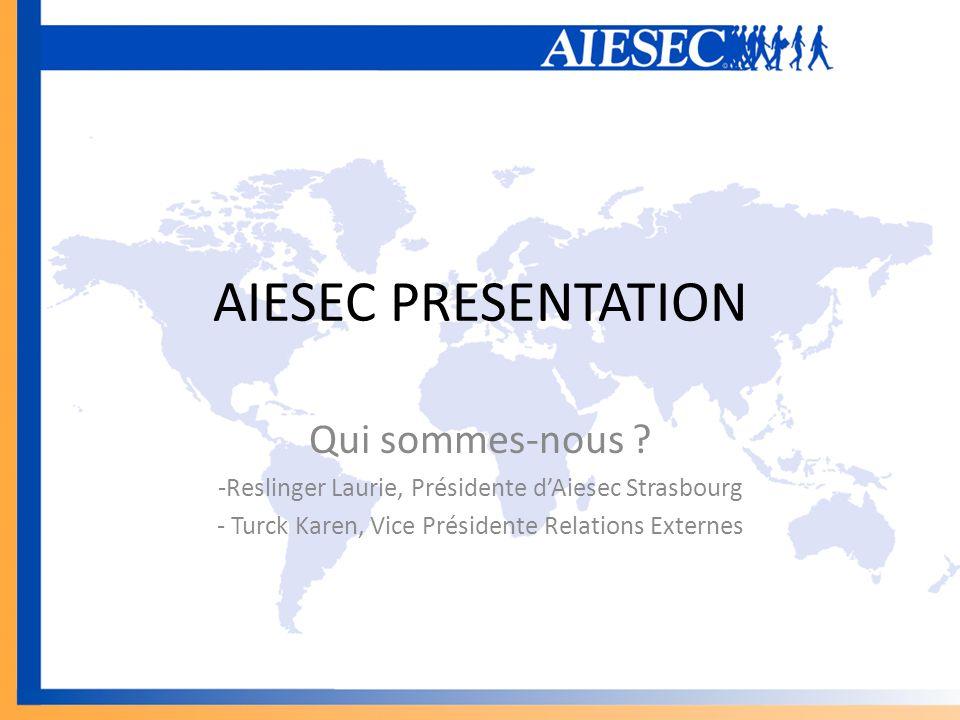 AIESEC PRESENTATION Qui sommes-nous ? -Reslinger Laurie, Présidente dAiesec Strasbourg - Turck Karen, Vice Présidente Relations Externes