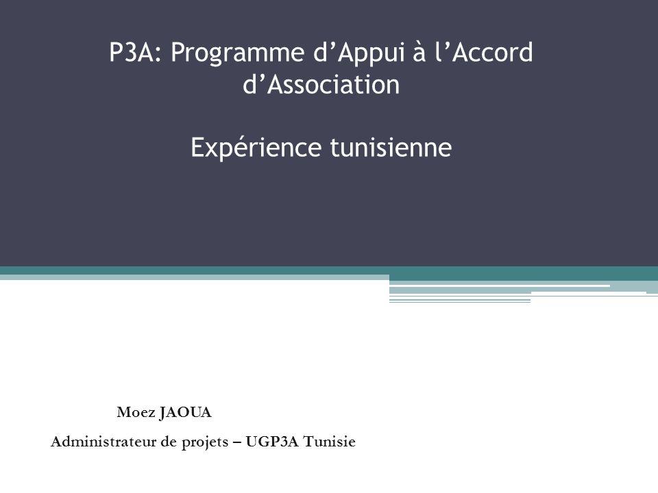 P3A: Programme dAppui à lAccord dAssociation Expérience tunisienne Moez JAOUA Administrateur de projets – UGP3A Tunisie