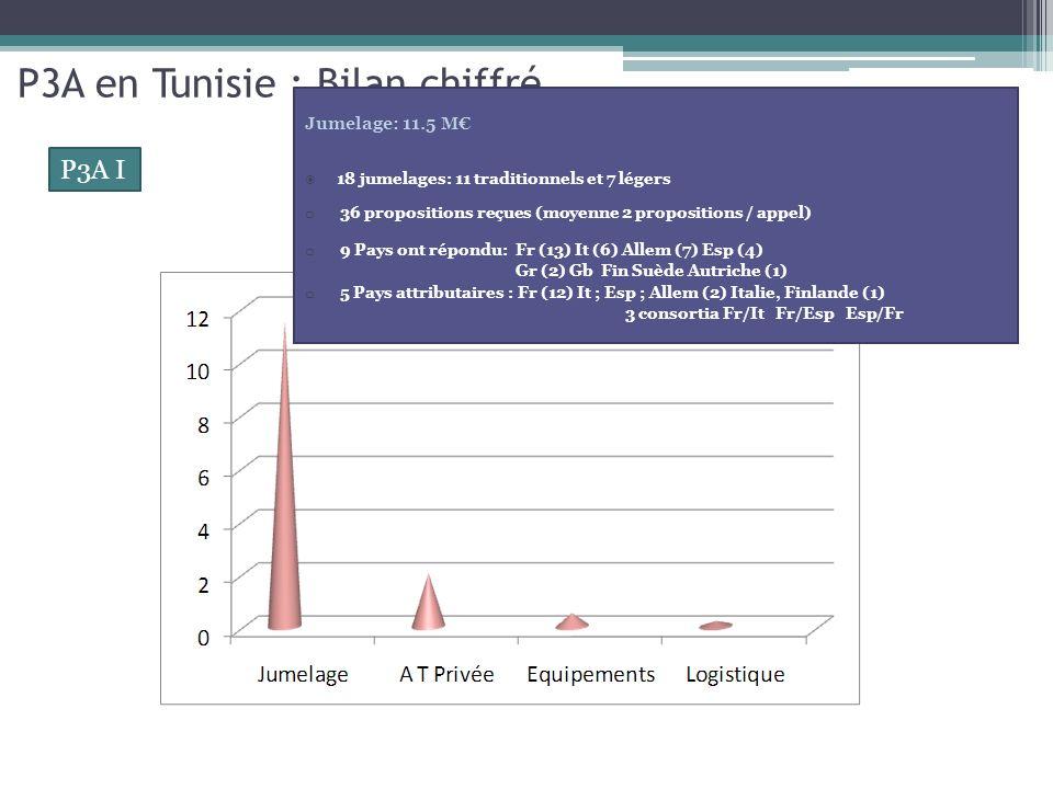 P3A en Tunisie : Bilan chiffré 4 programmes annuels: 2005; 2006/2007; 2008 ; 2009 100% du budget opérationnel engagé (17 M) 83.5% dépensé Bénéficiaires directs et indirects: plus de 60 institutions 14 ministères ; 26 institutions publiques ; 6 associations et fédérations professionnelles ; 9 centres techniques et plus de 10 laboratoires danalyse et dessai.