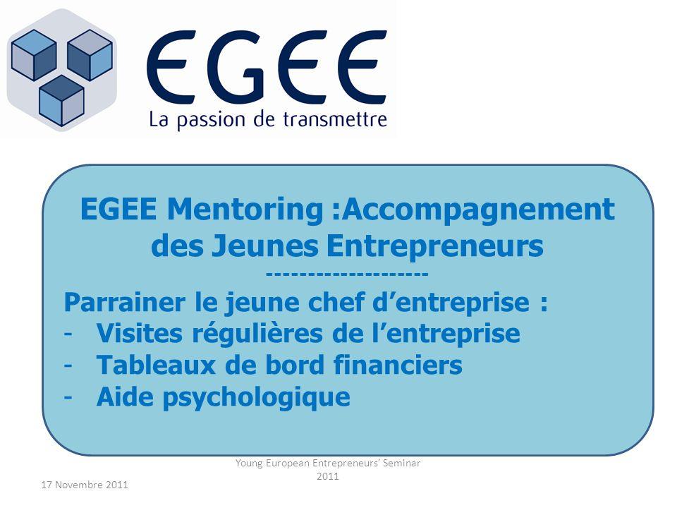 17 Novembre 2011 Young European Entrepreneurs Seminar 2011 EGEE Mentoring :Accompagnement des Jeunes Entrepreneurs -------------------- Parrainer le j