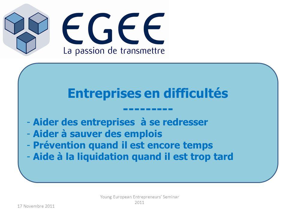 17 Novembre 2011 Young European Entrepreneurs Seminar 2011 Entreprises en difficultés --------- - Aider des entreprises à se redresser - Aider à sauve