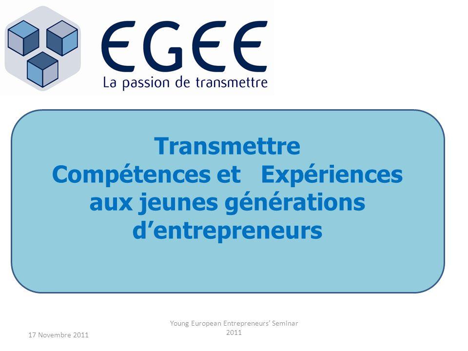 17 Novembre 2011 Young European Entrepreneurs Seminar 2011 Transmettre Compétences et Expériences aux jeunes générations dentrepreneurs