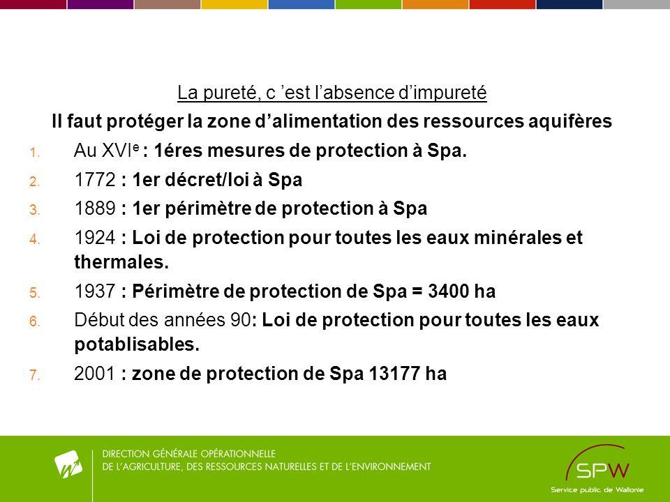 La pureté, c est labsence dimpureté Il faut protéger la zone dalimentation des ressources aquifères 1. Au XVI e : 1éres mesures de protection à Spa. 2